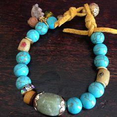 Lakshmi Custom Jewelry | Howlite turquoise, African beads and aventurine bracelet