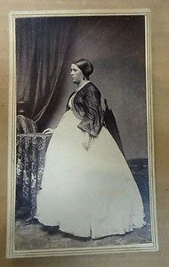 1860's Expectant mother in day dress &  short jacket, CDV