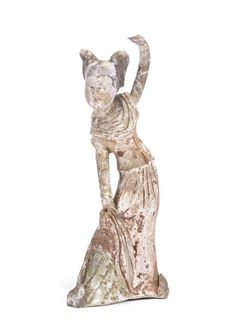 A painted pottery figure of a female dancer Tang Dynasty