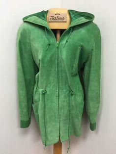 fresh green, hooded suede jacket by Danier, fits medium-large, $39.99