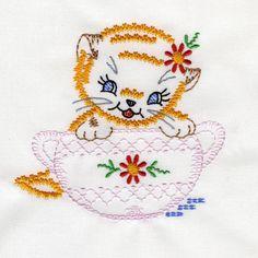 Playful Vintage Kittens - Embroidery Playground | OregonPatchWorks