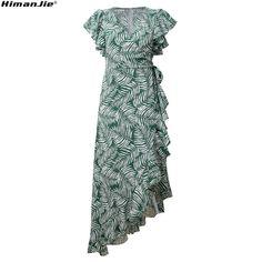 4133c88dfad7bf8 35% СКИДКА|Женское сексуальное пляжное платье с v образным вырезом, летящим  рукавом, поясом и принтом, асимметричное платье с оборками, зеленые макси  платья ...