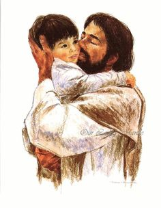 """Jesus loves the little children. """"Whether we are high above the sky or in the deepest ocean, nothing in all creation will ever be able to separate us from the love of God that is revealed in Christ Jesus our Lord. Pictures Of Jesus Christ, Christian Artwork, Jesus Painting, Jesus Art, Jesus Is Lord, Illustrations, Kirchen, Religious Art, Gods Love"""