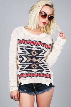 Native Border Sweater - Knit Sweaters at Pinkice.com