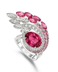 """Piaget's latest Sunlight Escape high jewelry collection. """"Dazzling Glow"""" white gold ring, featuring a – Madagascar pink sapphire surrounded by pink sapphires and white diamonds.🌸💎 Astro-Cast on April 29 presents Opportunity and Challenge for All Signs Piaget Jewelry, Sapphire Jewelry, Gemstone Jewelry, Jewellery, Pink Jewelry, Jewelry Accessories, Gemstone Engagement Rings, Pink Gemstones, Pink Sapphire"""