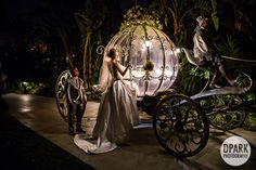 Modern Cinderella inspired Disneyland Disney Fairy Tale Wedding with Cinderella's Crystal Coach carriage ride to the ceremony