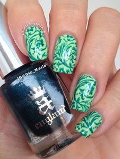 Stamping with St George  ~ base polish 'Exotic' by the Belgian brand Park Avenue stamped using 'Saint George' by A-England and the image plate SE01B from the Encore set by PUEEN ~ by GioNails