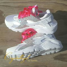 9b6b620b24041 Nike Air Huarache Womens White Pink With White Crystals Trainers Sale UK