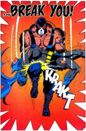 Bane, although totally effing Batman's shizz here, let us note the huge set of knockers he has in this cartoon.