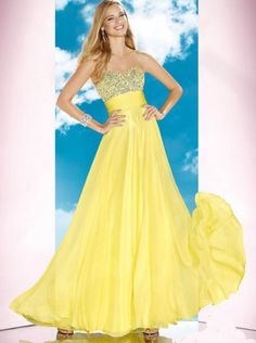 A-line Sweetheart Beaded Bodice Yellow Formal Dress Evening Dress/Prom Dress B\'Dazzle Ace 35588