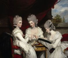 The Ladies Waldegrave is a 1780-81 portrait by Joshua Reynolds, the three daughters of James Waldegrave, 2nd Earl Waldegrave and Maria Walpole - from left to right, Charlotte (holding a skein of silk), Elizabeth (winding Charlotte's skein onto a card) + Anna (producing tambour lace). Exhibited at the Royal Academy in 1781, it was commissioned the previous year by the subjects' mother in the hope of attracting potential suitors for them - all three of them were then unmarried.