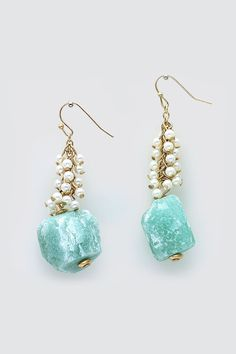 Billie Earrings in Sugared Mint Quartz and Pearl