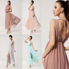 Boho Chiffon Maxi Long Evening Dress (Dusty Pink)