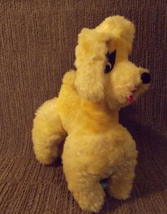 """Canatoy Plush Poodle Dog Carnival Prize Yellow Stuffed Animal Vintage 1960s 12"""" - pinned by pin4etsy.com"""