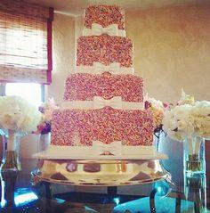 Rainbow Sprinkles Tiered Wedding Cake - Sand Acre Estate Palm Springs