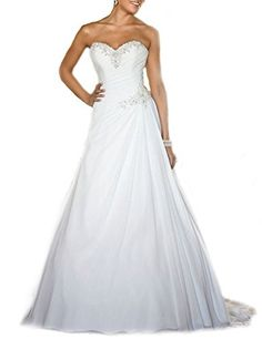 78fcaf24e7 Sing Love Sweetheart Chiffon Crystal Lace Train Wedding Dresses size 16      Read more at the image link. Fashion Women