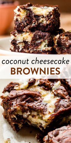 These rich and fudge-like coconut cheesecake brownies combine an easy homemade brownie batter with a coconut cream cheese swirl. #coconut #cheesecake #brownies Chocolate Flavors, Chocolate Cookies, Chocolate Desserts, Coconut Cheesecake, Cheesecake Brownies, Trifle Desserts, Dessert Bars, Dessert Sauces, Dessert Recipes