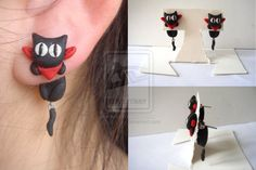 Clinging Sakamoto Earrings prototype by KittyAzura.deviantart.com on @deviantART