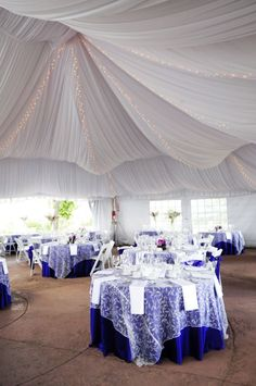 Blue wedding decor, love the draping in this marquee! Purple Wedding, Wedding Colors, Dream Wedding, Wedding Table, Wedding Reception, Wedding Venues, Marquee Wedding, Tent Wedding, Kids Interior