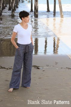 Casual Drawstring Pants Sewing Pattern - Oceanside Pants by Blank Slate Patterns