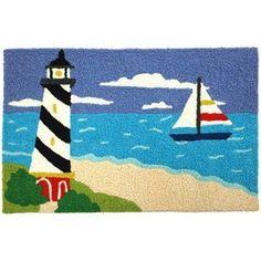 Sailor's Friend Coastal Lighthouse Sailing Jellybean Accent Rug