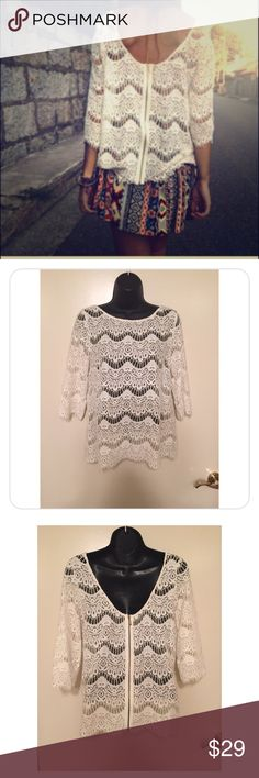 Zara Ivory Lace Top Zip Back Excellent Condition Excellent condition , worn only once ! Size Small.  Lace is sheer and looks cute with ivory or any color tank layered under.  The back is low scoop with exposed gold tone full zipper , Eyelash trim very flattering ! Zara Tops Blouses