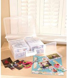 Photo Storage Box for 1600 Pictures Clear Organizer Acid-Free Cases Keeper Pics for sale online Storage Containers, Storage Boxes, Storage Baskets, Picture Storage, Stationery Craft, Ltd Commodities, Picture Holders, 6 Photos, Pictures