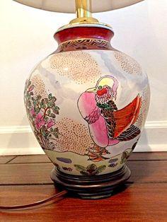 Asian Lamp with Bird Motif Chinoiserie Lamp Chinoiserie Decor Asian Lamp Asian Decor Oriental Lamp Oriental Decor Vintage Lamp