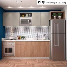 your kitchen design will maximize your small kitchen idea 41 One Wall Kitchen, Basement Kitchen, Kitchen Room Design, Kitchen Cabinet Design, Modern Kitchen Design, Home Decor Kitchen, Interior Design Kitchen, Studio Kitchen, Mini Kitchen