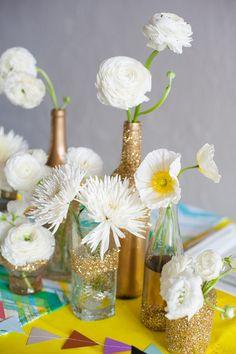 white flowers + gold glitter vases // photo by Matt & Julie Weddings