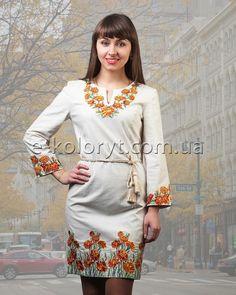 """Жіноче вишите Плаття """"Чорнобривці"""" в інтернет-магазині вишитого одягу """"Колорит""""   Купити сукню льняну """"Чорнобривці"""". Доступні ціни, доставка, гарантія!"""