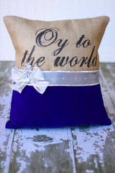 Hanukkah Oy To The World Burlap Pillow Cover by MonMellDesigns, $50.00