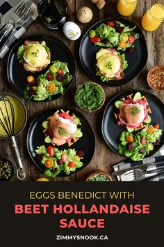 In celebration of World Egg Day, I have made Eggs Benedict two ways. The first eggs benedict recipe has a beet hollandaise sauce on a buttermilk waffle, layered with cucumber, beet cured salmon gravlax, red onions, a poached egg, beet hollandaise sauce, topped with dill and capers. The second is a traditional English muffin, topped with lettuce, tomato, grilled peameal bacon, a poached egg, hollandaise sauce and microgreens. #eggsbenedict #brunch #eggs #hollandaisesauce #beetrecipes Beet Recipes, Sauce Recipes, Peameal Bacon, Recipe For Hollandaise Sauce, Eggs Benedict Recipe, Buttermilk Waffles, How To Squeeze Lemons, Poached Eggs, Beets