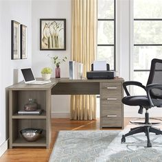 $223.99 · Staples.com: Exeter Office Pro L-Desk, Salinas Oak (9537333COM) with fast and free shipping on select orders. Small Office Decor, Small Space Office, Small Home Offices, Home Office Space, Home Office Desks, Corner Office Desk, Cool Office Desk, Office With Two Desks, L Shaped Office Desk