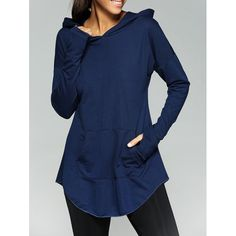 Loose-Fitting Front Pocket Thumb Hole Hoodie | TwinkleDeals.com