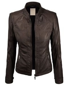 Lock and Love Women's Panelling Faux Leather Biker Jacket at Amazon Women's Clothing store: