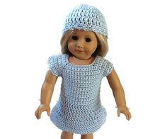 18 Inch Doll Dress and Hat/ Crochet Dress & Hat fits American