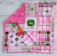 Hey, I found this really awesome Etsy listing at http://www.etsy.com/listing/107471127/pink-john-deere-minky-binky-blanket-from