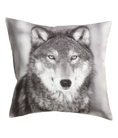 Wolf Print Accent Decorative Throw Pillow Cover Cotton Throw Pillow Cover Cushion 16 X Gray, Brown, Black, Off White