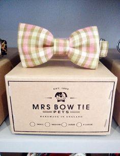 Summer Plaid Dog Collar Bow Tie