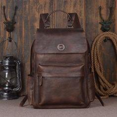 Vintage Style Full Grain Leather Backpack Travel Backpack Rucksack 9031 - ROCKCOWLEATHERSTUDIO