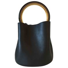 5da2bda5a48b black Plain Leather MARNI Handbag - Vestiaire Collective Leather Bag