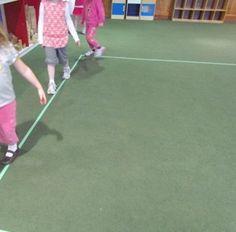 Developing large motor skills by playing on the line in preschool   Teach Preschool
