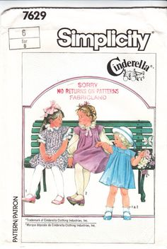 Simplicity 7629 Child's Jumper Dress and Blouse Sewing Pattern 6 Uncut