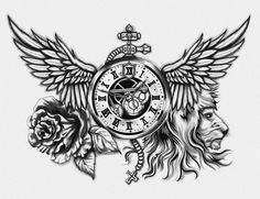 Beautiful Arm Tattoo Designs and Tattoo Flash Art Chest Piece Tattoos, Pieces Tattoo, Body Art Tattoos, New Tattoos, Chest Tattoo Clock, Chest Tattoo Wings, Lion Chest Tattoo, Eagle Chest Tattoo, Tatoos