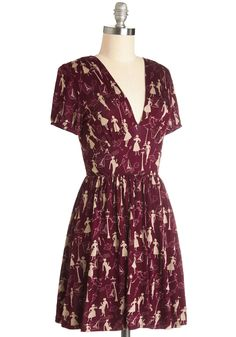 Marvelous Maraschino Dress in Paris. Casual flair has never looked as remarkable as it does in this maroon dress, which flourishes with an elegant Parisian motif! #red #modcloth