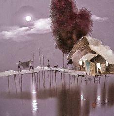 The Vietnamese painter Dang Van Can was born in 1957 in An Duc commune, Long Ho District, Vinh Long Province, the place is located along riverside of Mekong river in Vietnam. He showed an early talent in drawing and painting. He commenced to art works since 1976 with main job as a illustrator for local newspaper and magazine. Dang Can is a member of Vietnam Fine Arts Association. He has many paintings in Private Collection in many countries. Pastel Landscape, Abstract Landscape, Landscape Paintings, Sketch Painting, Artist Painting, Elephant Cartoon Images, Moonlight Painting, Art Asiatique, Winter Painting