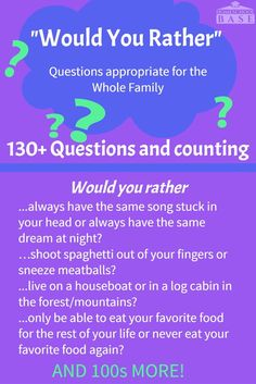 "Would you rather questions that the whole family can enjoy! Hard, funny, weird, and all appropriate for the family. ""Would You Rather"" is a great game for so many reasons. By asking each other weird and unusual things. Best Would You Rather, Would You Rather Questions, This Or That Questions, Game Of Things Questions, Quiz Questions For Kids, Asking Questions Game, Funny Interview Questions, Family Trivia Questions, Funny Icebreaker Questions"
