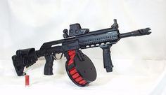 Saiga Shotgun with a 20 round drum thats alot of fire bower Weapons Guns, Guns And Ammo, Airsoft, Espada Anime, Tactical Shotgun, Tactical Knife, Tactical Gear, Weapon Of Mass Destruction, Firearms