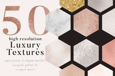 Gold and Marble Textures for Photoshop. Gorgeous rose gold and glitter patterns and textures for designers and blogger graphics. $7 https://crmrkt.com/v7ego #affiliate